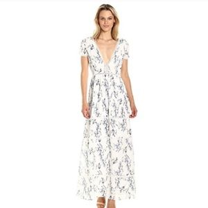 Lucca Lace Inset Deep V Neck Floral Maxi Dress NEW